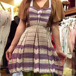 Vintage Other - 💫Vintage Purple White Hand Crochet Full Apron