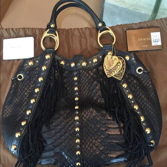 ae71d143e161 Gucci Bags | Authentic Python Hobo Fringe Grommet Bag | Poshmark