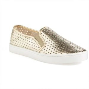 BP Twiny gold cut out slip on sneakers flats