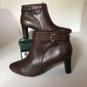 NIB RALPH LAUREN Brown Leather Buckled Boots 7.5B