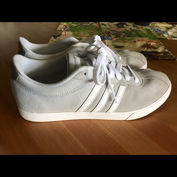 best service 50eb2 823c2 adidas Shoes - Adidas Neo Courtset Grey Suede Sneakers