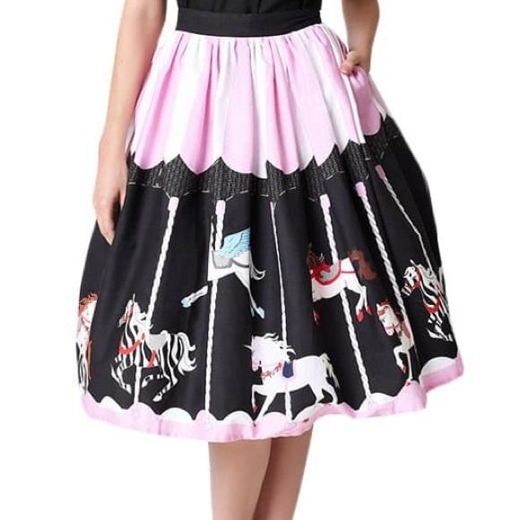 94e5c4abb713 Unique Vintage Carousel Skirt Pinup Retro 1950