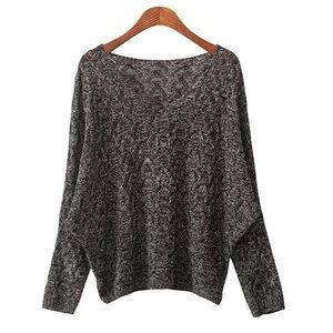 Black bat-wing loose sweater