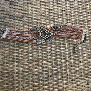 Brown owl, wings, triangle bracelet