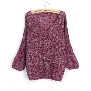 Sweaters - bat-wing loose sweater