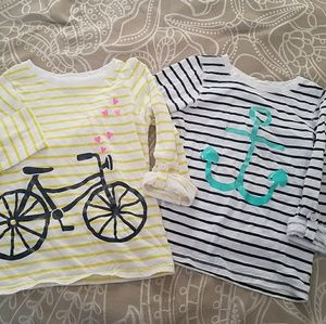 Two adorable striped tees with roll-up sleeves