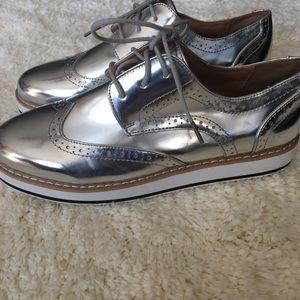 Silver Metallic Oxfords