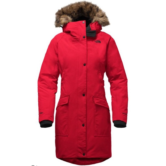 36e61d59dc The North Face Red Womens Borough Parka Fur Collar