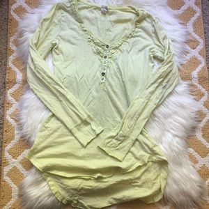 we the free neon yellow asymmetrical shirt size L