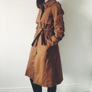 🍁Long mocha brown trench jacket