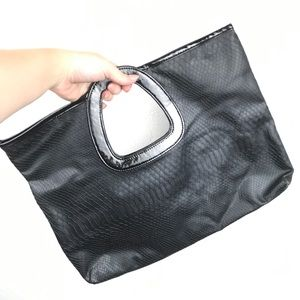 Black stylish vegan faux snakeskin handbag purse