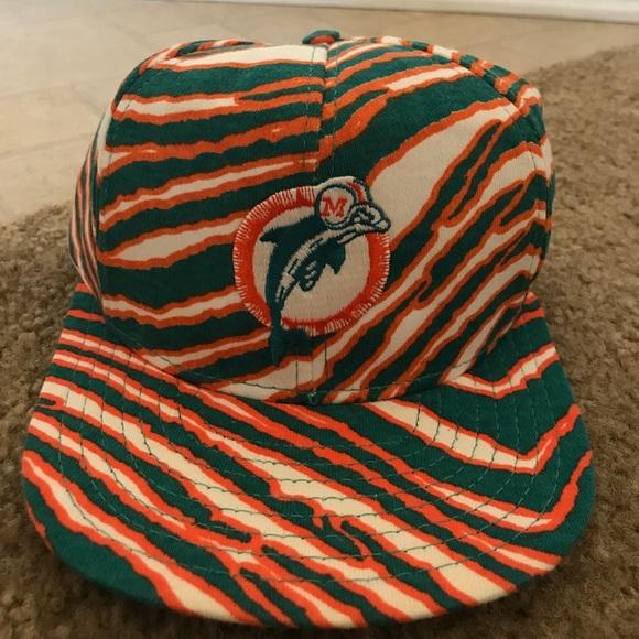 Vintage Miami Dolphins Zubaz Print Hat Adjustable a47aa2831c82