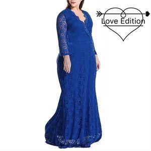 Dresses & Skirts - 💙Plus Royal Blue Pure Heart Maxi Lace Dress,1X-5X