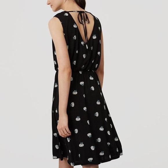 f656e080fb1 LOFT Ann Taylor Black Petite Lotus Tie Back Dress