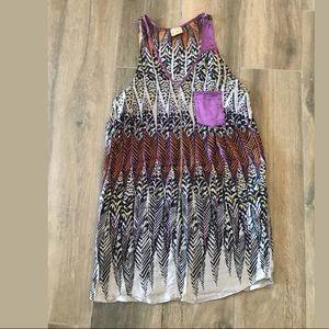 Anthropologie postella silk feather print dress M