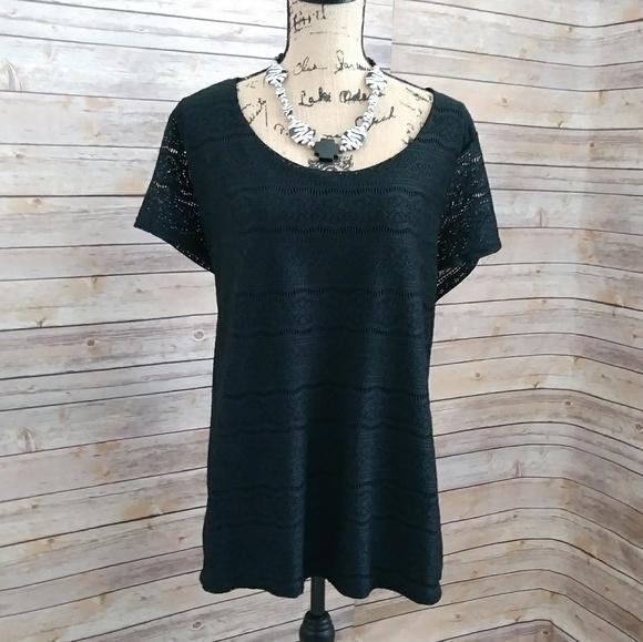 6f7bf170ec5f7 Merona Tops - Plus Size Merona Lace Front Black Top Size 3X