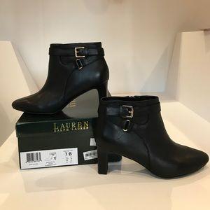 NIB RALPH LAUREN Black Leather Buckled Boots 7 B