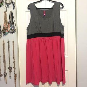 Pure Energy Grey & Pink cotton tank dress