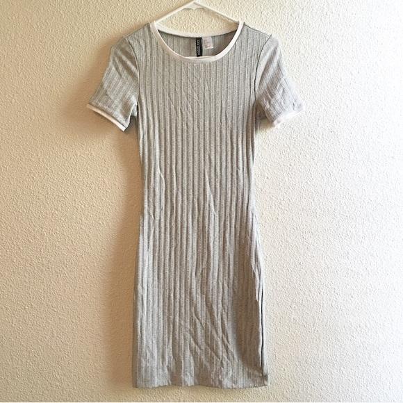 404b8edcbb2 H&M Divided Ribbed Jersey Knit Dress Gray White