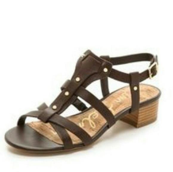 2f3651ba26424 Sam Edelman Black Cognac Angela Block Heel Sandals.  M 59cc312956b2d62f6800154c