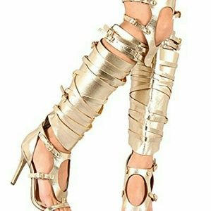 *PRICE DROP* NWOB Breckelles Gold Thigh Hi Sandals