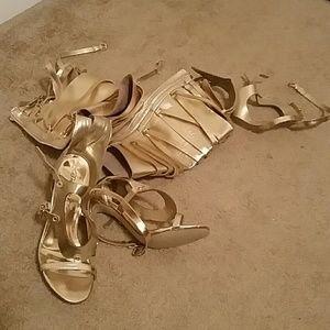 Breckelles Shoes - *PRICE DROP* NWOB Breckelles Gold Thigh Hi Sandals