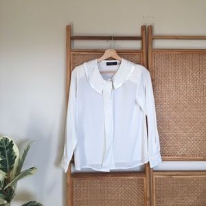 Tops - Precious White Embroidered Collar Vintage Shirt
