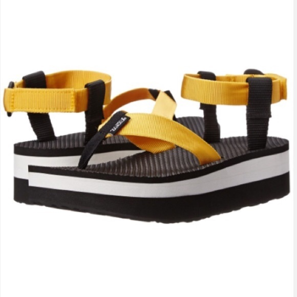 Yellow Teva Flatform Sandal