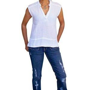 MICHAEL STARS double gauze Henley tank top blouse
