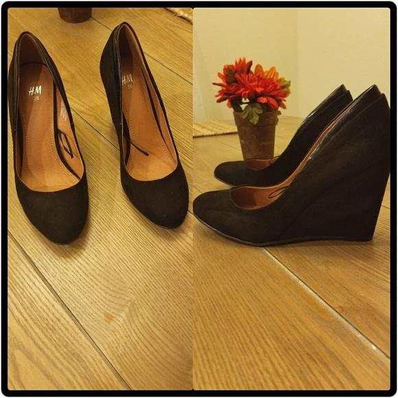 H\u0026M Shoes   H M Black Wedges   Poshmark