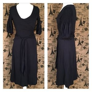 Theory Black Wrap Dress Size M