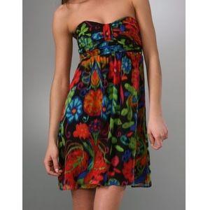 Shoshanna Floral Print Strapless Silk Dress