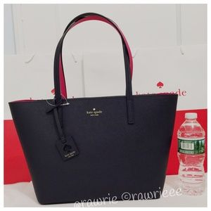 New Kate Spade Navy saffiano leather zip tote