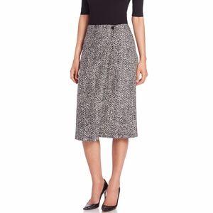 Theory Gantrima Tweed Midi Skirt in Black Wool 0