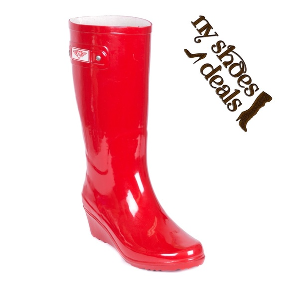 11591acdd22 Woman Red Wedge Rain Boots RB-3100 Boutique