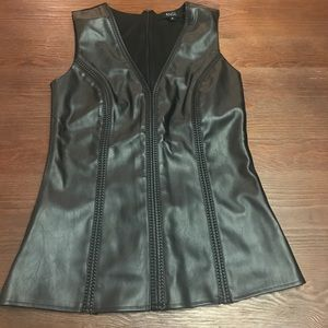 ANGL Black Faux Leather Tank