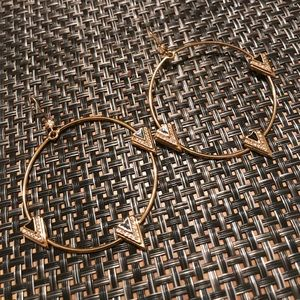 GUESS Gold Hoop Dangle Fashion Earrings