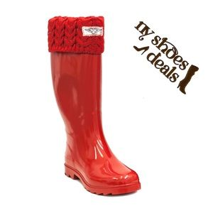 Women's Red Sock Cuff Rubber Rain boots Wellies