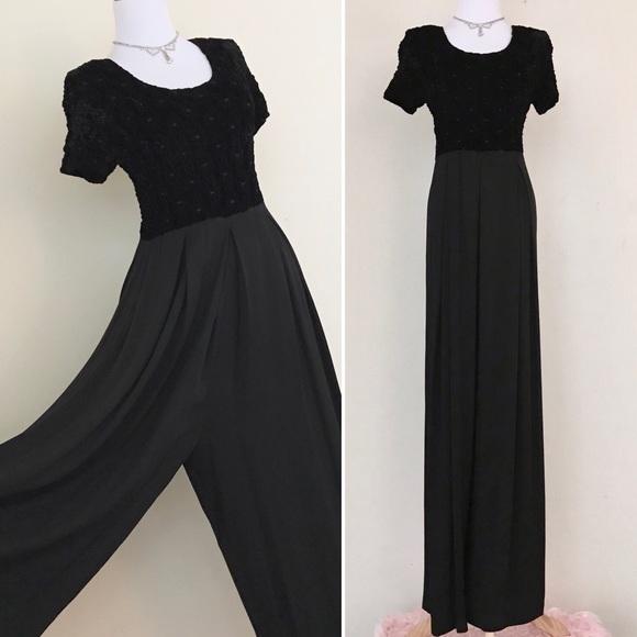 fef47c151ca Vintage 90s Express Black Velvet Palazzo Jumpsuit.  M 59d9d2a8522b45a3c90856d5