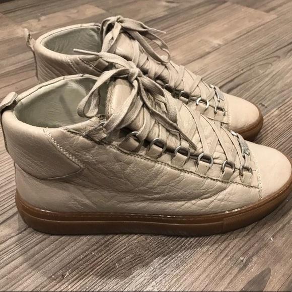 acheter en ligne de507 5e829 Balenciaga Arena Beige Leather High Top Shoe Sz 39