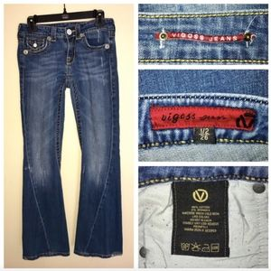 Vigoss Distressed Flare Thick Stitch Flap Jeans 26