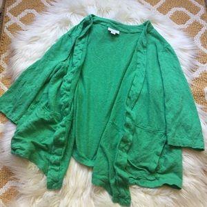 green 100% linen j. jill green cardigan size 1X.
