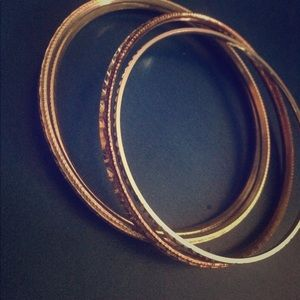 Jewelry - Silver and rose gold bangles bracelet set