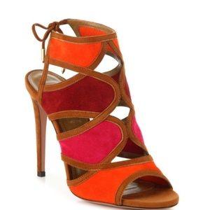Aquazurra vika suede multicolor sandals