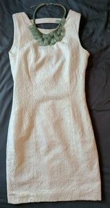 H&M natural/ white jacquard print fitted dress.