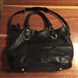 J. Crew black genuine leather Marlow Hobo EUC!