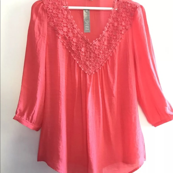111391f9f46 SPENSE S Coral Crochet Lace Peasant Top Blouse NWT