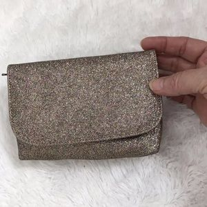 "{LOFT Outlet} Gold Pink Glitter 6""x4"" Hand Clutch"