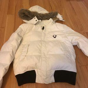 True religion ivory down bomber jacket