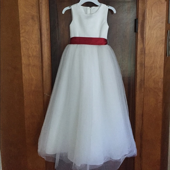 David\'s Bridal Dresses | White Red Sash Girls S7 Flower Girl Formal ...